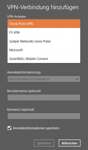 Screenshot - Auswählen des Check Point Mobile VPN Plugin