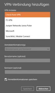 Screenshot - Auswählen des Check Point Mobile VPN Plugin
